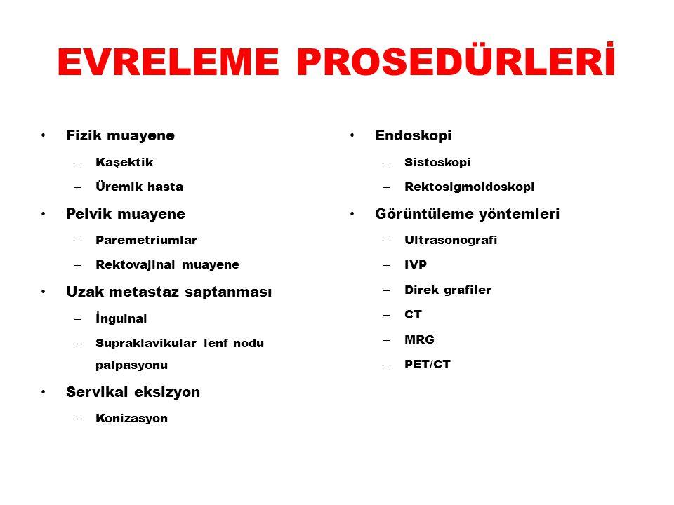 EVRELEME PROSEDÜRLERİ Fizik muayene – Kaşektik – Üremik hasta Pelvik muayene – Paremetriumlar – Rektovajinal muayene Uzak metastaz saptanması – İnguin