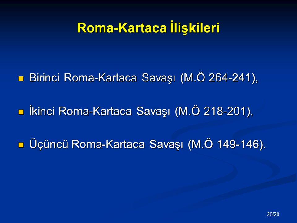 20/20 Roma-Kartaca İlişkileri Birinci Roma-Kartaca Savaşı (M.Ö 264-241), Birinci Roma-Kartaca Savaşı (M.Ö 264-241), İkinci Roma-Kartaca Savaşı (M.Ö 21