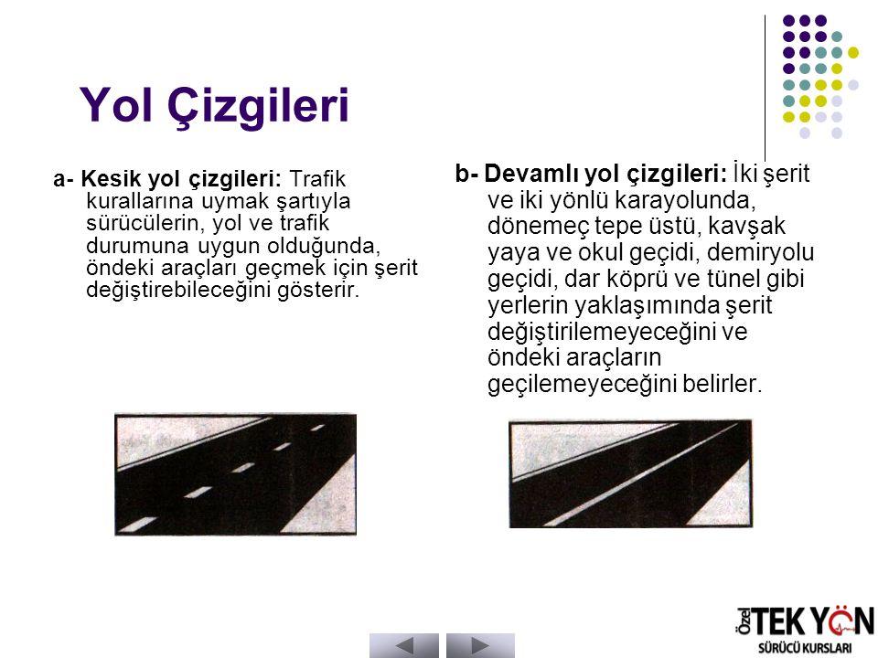 Yol Çizgileri a- Kesik yol çizgileri: Trafik kurallarına uymak şartıyla sürücülerin, yol ve trafik durumuna uygun olduğunda, öndeki araçları geçmek için şerit değiştirebileceğini gösterir.