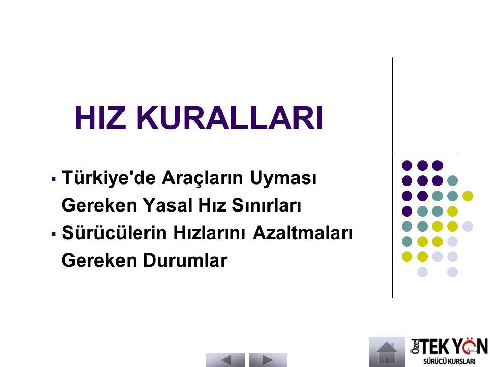 HIZ KURALLARI  Türkiye de Araçların Uyması Gereken Yasal Hız Sınırları  Sürücülerin Hızlarını Azaltmaları Gereken Durumlar