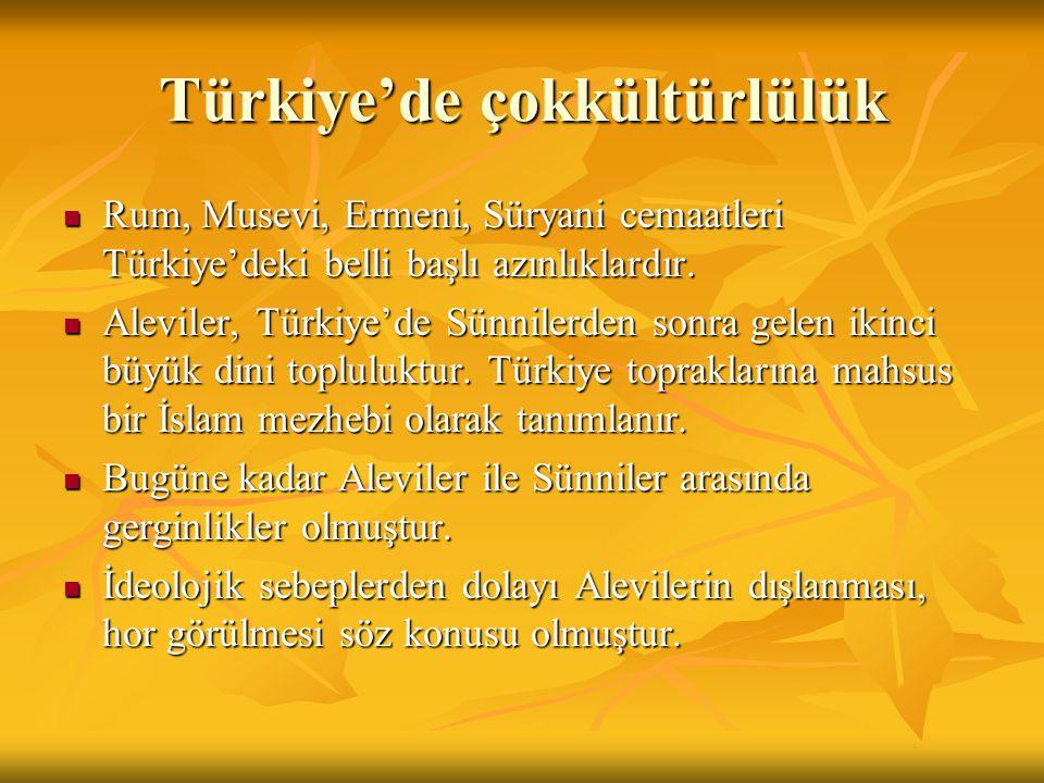 Türkiye'de çokkültürlülük Rum, Musevi, Ermeni, Süryani cemaatleri Türkiye'deki belli başlı azınlıklardır. Rum, Musevi, Ermeni, Süryani cemaatleri Türk