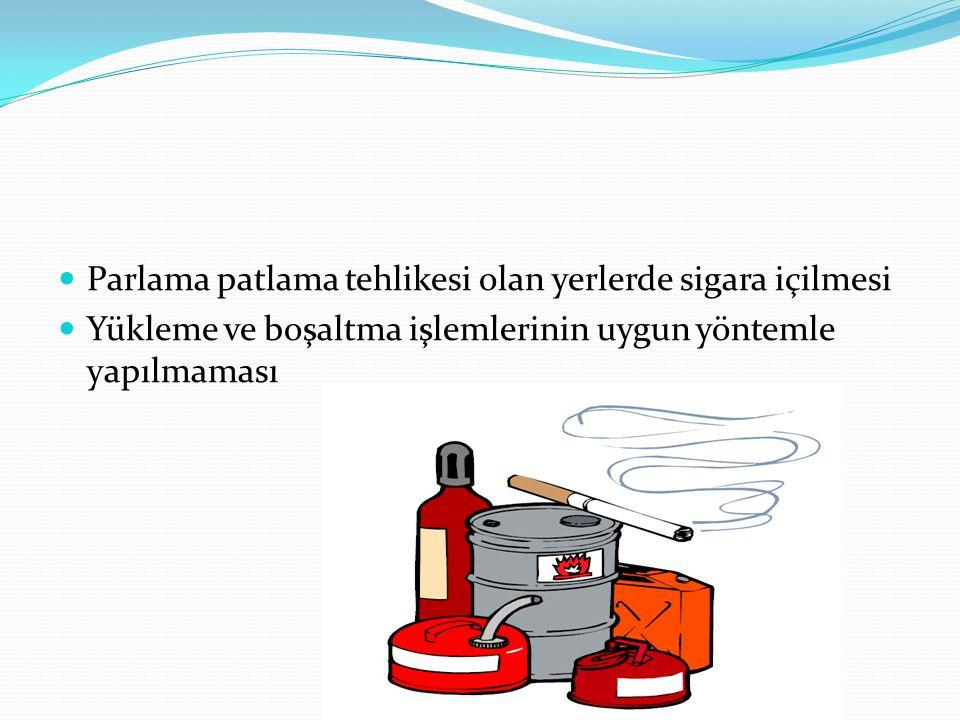 Parlama patlama tehlikesi olan yerlerde sigara içilmesi Yükleme ve boşaltma işlemlerinin uygun yöntemle yapılmaması