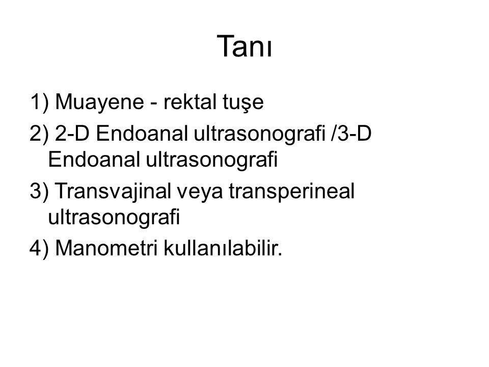 Tanı 1) Muayene - rektal tuşe 2) 2-D Endoanal ultrasonografi /3-D Endoanal ultrasonografi 3) Transvajinal veya transperineal ultrasonografi 4) Manomet