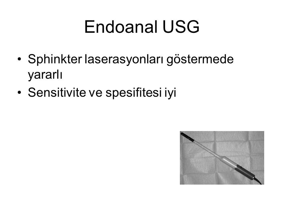 Endoanal USG Sphinkter laserasyonları göstermede yararlı Sensitivite ve spesifitesi iyi