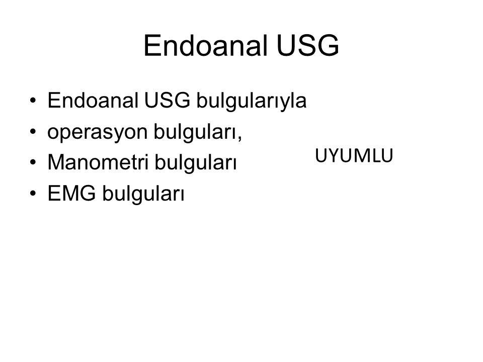 Endoanal USG Endoanal USG bulgularıyla operasyon bulguları, Manometri bulguları EMG bulguları UYUMLU