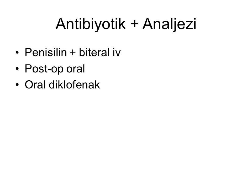 Antibiyotik + Analjezi Penisilin + biteral iv Post-op oral Oral diklofenak
