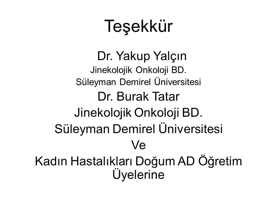 Teşekkür Dr. Yakup Yalçın Jinekolojik Onkoloji BD. Süleyman Demirel Üniversitesi Dr. Burak Tatar Jinekolojik Onkoloji BD. Süleyman Demirel Üniversites