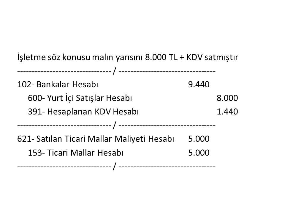 İşletme söz konusu malın yarısını 8.000 TL + KDV satmıştır -------------------------------- / --------------------------------- 102- Bankalar Hesabı9.440 600- Yurt İçi Satışlar Hesabı8.000 391- Hesaplanan KDV Hesabı1.440 -------------------------------- / --------------------------------- 621- Satılan Ticari Mallar Maliyeti Hesabı5.000 153- Ticari Mallar Hesabı5.000 -------------------------------- / ---------------------------------