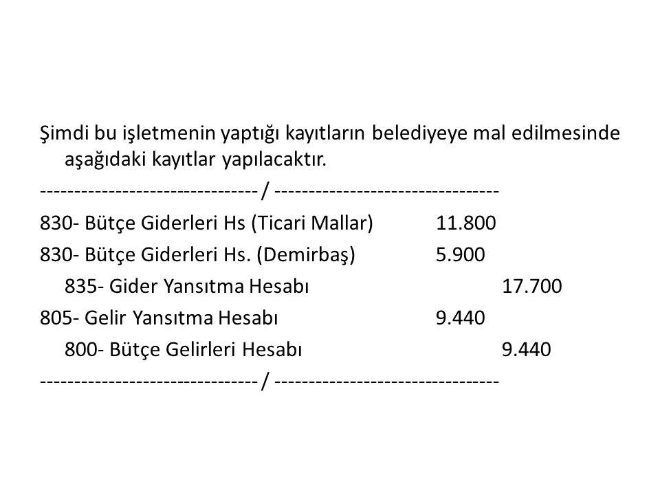 Şimdi bu işletmenin yaptığı kayıtların belediyeye mal edilmesinde aşağıdaki kayıtlar yapılacaktır.