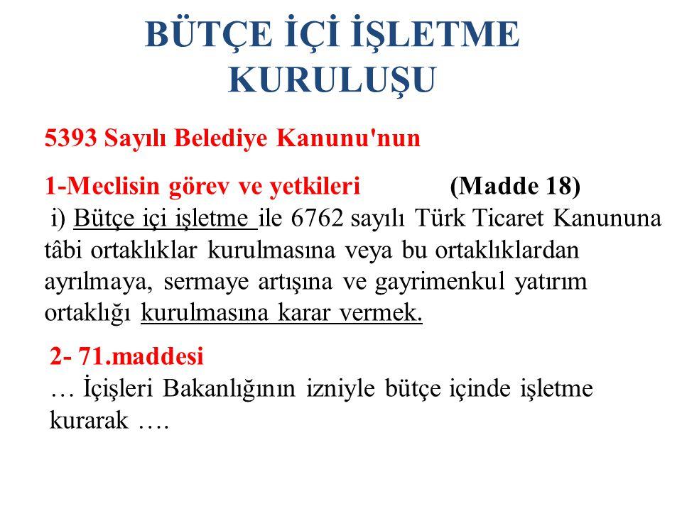 BÜTÇE İÇİ İŞLETME KURULUŞU 5393 Sayılı Belediye Kanunu nun 1-Meclisin görev ve yetkileri (Madde 18) i) Bütçe içi işletme ile 6762 sayılı Türk Ticaret Kanununa tâbi ortaklıklar kurulmasına veya bu ortaklıklardan ayrılmaya, sermaye artışına ve gayrimenkul yatırım ortaklığı kurulmasına karar vermek.