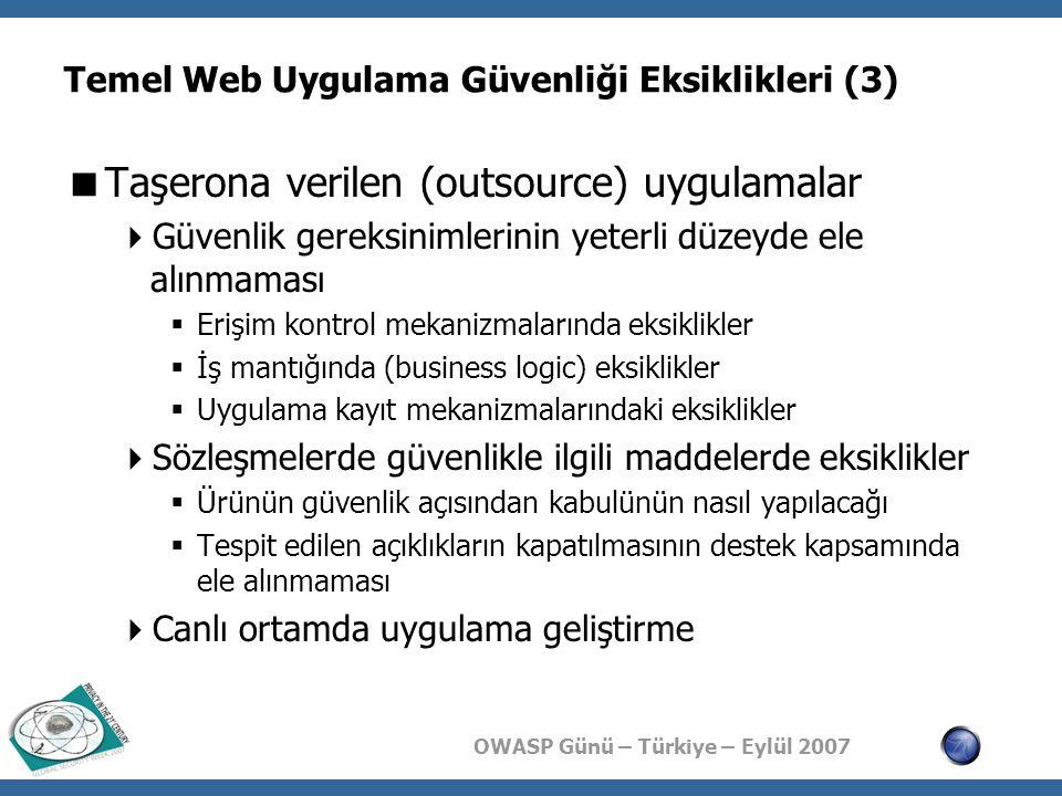 OWASP Günü – Türkiye – Eylül 2007 Temel Web Uygulama Güvenliği Eksiklikleri (3)  Taşerona verilen (outsource) uygulamalar  Güvenlik gereksinimlerinin yeterli düzeyde ele alınmaması  Erişim kontrol mekanizmalarında eksiklikler  İş mantığında (business logic) eksiklikler  Uygulama kayıt mekanizmalarındaki eksiklikler  Sözleşmelerde güvenlikle ilgili maddelerde eksiklikler  Ürünün güvenlik açısından kabulünün nasıl yapılacağı  Tespit edilen açıklıkların kapatılmasının destek kapsamında ele alınmaması  Canlı ortamda uygulama geliştirme