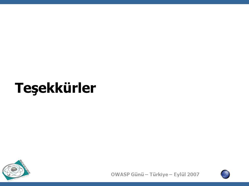 OWASP Günü – Türkiye – Eylül 2007 Teşekkürler