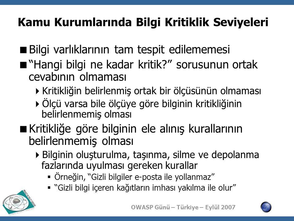 OWASP Günü – Türkiye – Eylül 2007 Kamu Kurumlarında Bilgi Kritiklik Seviyeleri  Bilgi varlıklarının tam tespit edilememesi  Hangi bilgi ne kadar kritik sorusunun ortak cevabının olmaması  Kritikliğin belirlenmiş ortak bir ölçüsünün olmaması  Ölçü varsa bile ölçüye göre bilginin kritikliğinin belirlenmemiş olması  Kritikliğe göre bilginin ele alınış kurallarının belirlenmemiş olması  Bilginin oluşturulma, taşınma, silme ve depolanma fazlarında uyulması gereken kurallar  Örneğin, Gizli bilgiler e-posta ile yollanmaz  Gizli bilgi içeren kağıtların imhası yakılma ile olur