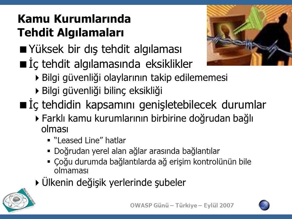 OWASP Günü – Türkiye – Eylül 2007 Kamu Kurumlarında Tehdit Algılamaları  Yüksek bir dış tehdit algılaması  İç tehdit algılamasında eksiklikler  Bil