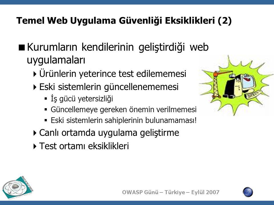 OWASP Günü – Türkiye – Eylül 2007 Temel Web Uygulama Güvenliği Eksiklikleri (2)  Kurumların kendilerinin geliştirdiği web uygulamaları  Ürünlerin ye