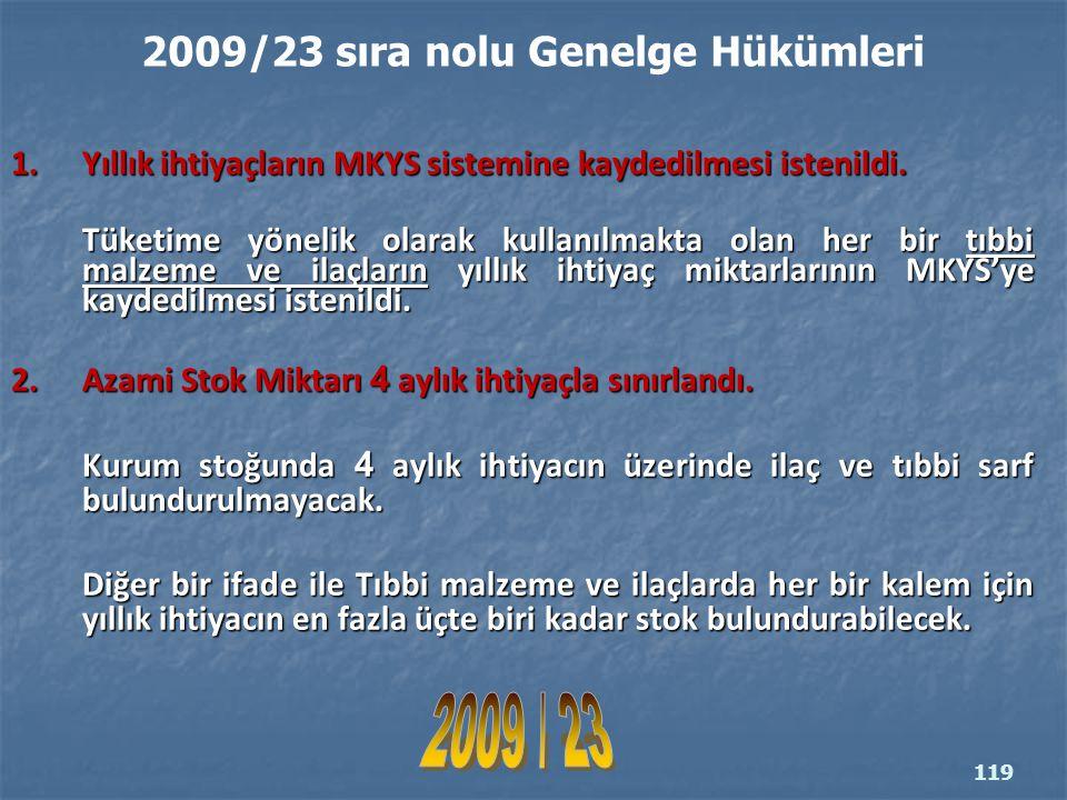2009/23 sıra nolu Genelge Hükümleri 1.Yıllık ihtiyaçların MKYS sistemine kaydedilmesi istenildi.