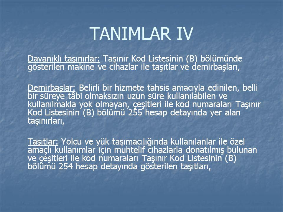 TANIMLAR IV Dayanıklı taşınırlar: Taşınır Kod Listesinin (B) bölümünde gösterilen makine ve cihazlar ile taşıtlar ve demirbaşları, Demirbaşlar: Belirl