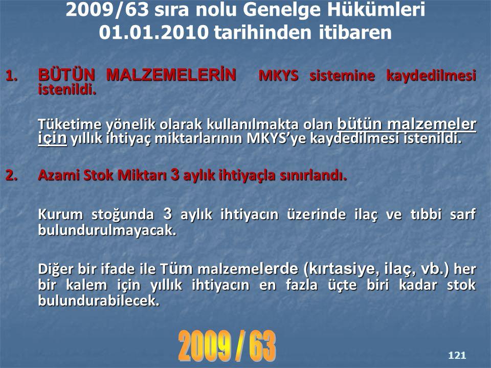 2009/63 sıra nolu Genelge Hükümleri 01.01.2010 tarihinden itibaren 1.