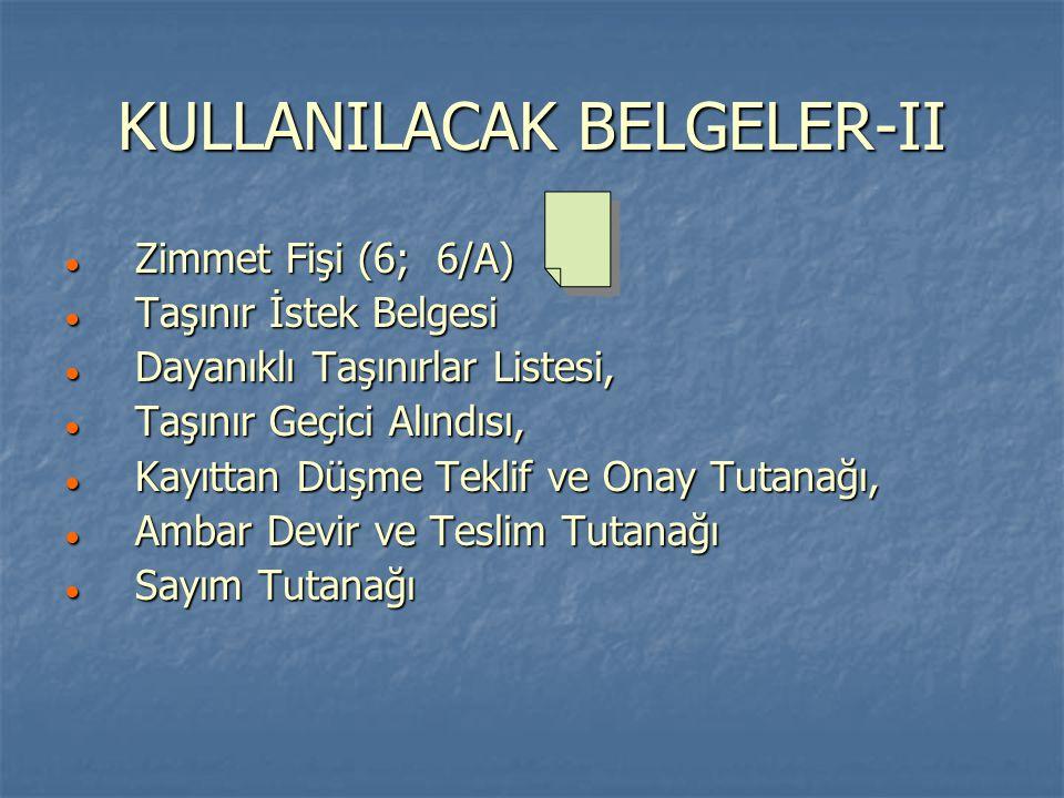 KULLANILACAK BELGELER-II ● Zimmet Fişi (6; 6/A) ● Taşınır İstek Belgesi ● Dayanıklı Taşınırlar Listesi, ● Taşınır Geçici Alındısı, ● Kayıttan Düşme Te