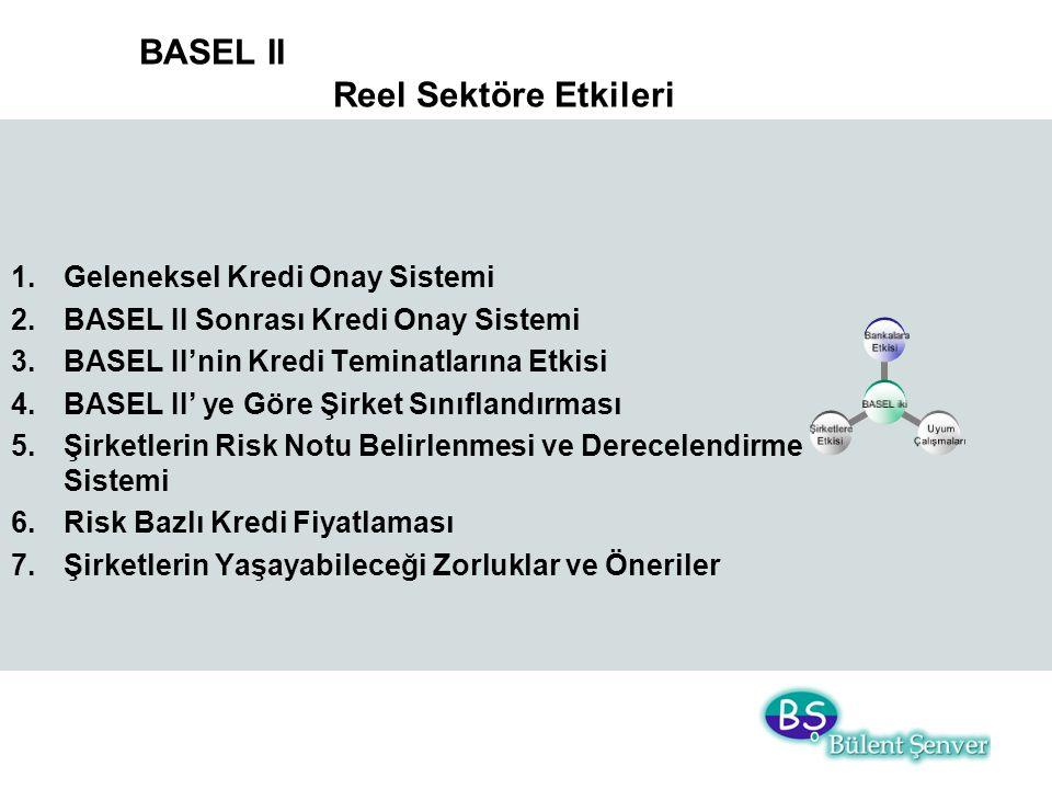 BASEL II Reel Sektöre Etkileri 1.Geleneksel Kredi Onay Sistemi 2.BASEL II Sonrası Kredi Onay Sistemi 3.BASEL II'nin Kredi Teminatlarına Etkisi 4.BASEL