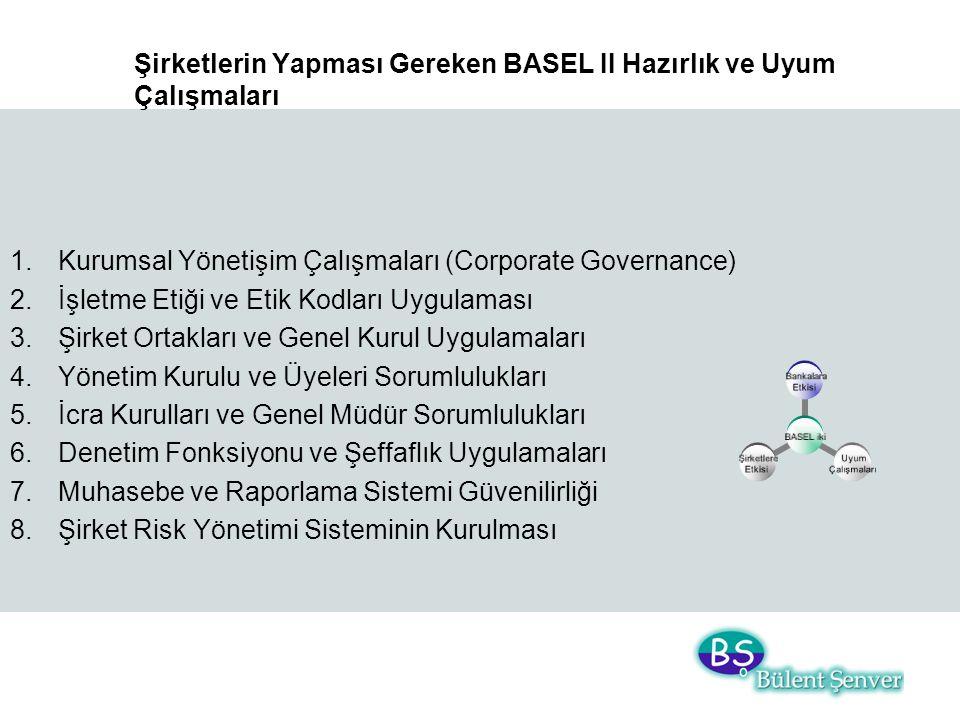 Şirketlerin Yapması Gereken BASEL II Hazırlık ve Uyum Çalışmaları 1.Kurumsal Yönetişim Çalışmaları (Corporate Governance) 2.İşletme Etiği ve Etik Kodl
