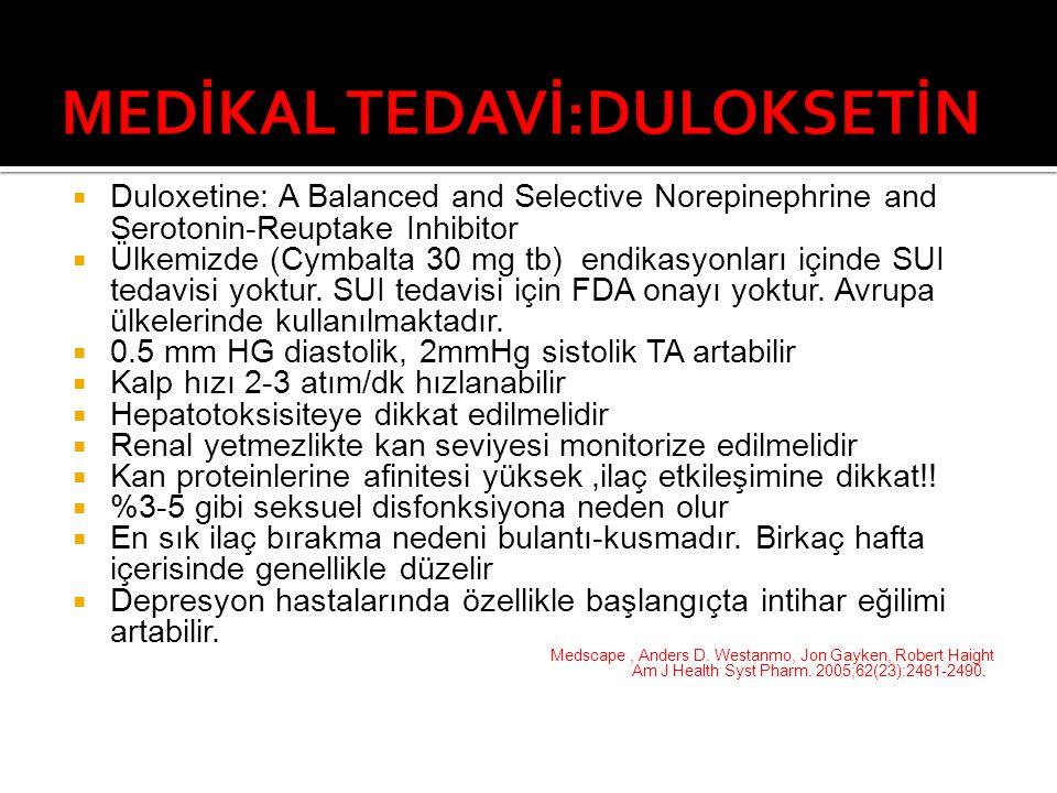  Duloxetine: A Balanced and Selective Norepinephrine and Serotonin-Reuptake Inhibitor  Ülkemizde (Cymbalta 30 mg tb) endikasyonları içinde SUI tedavisi yoktur.