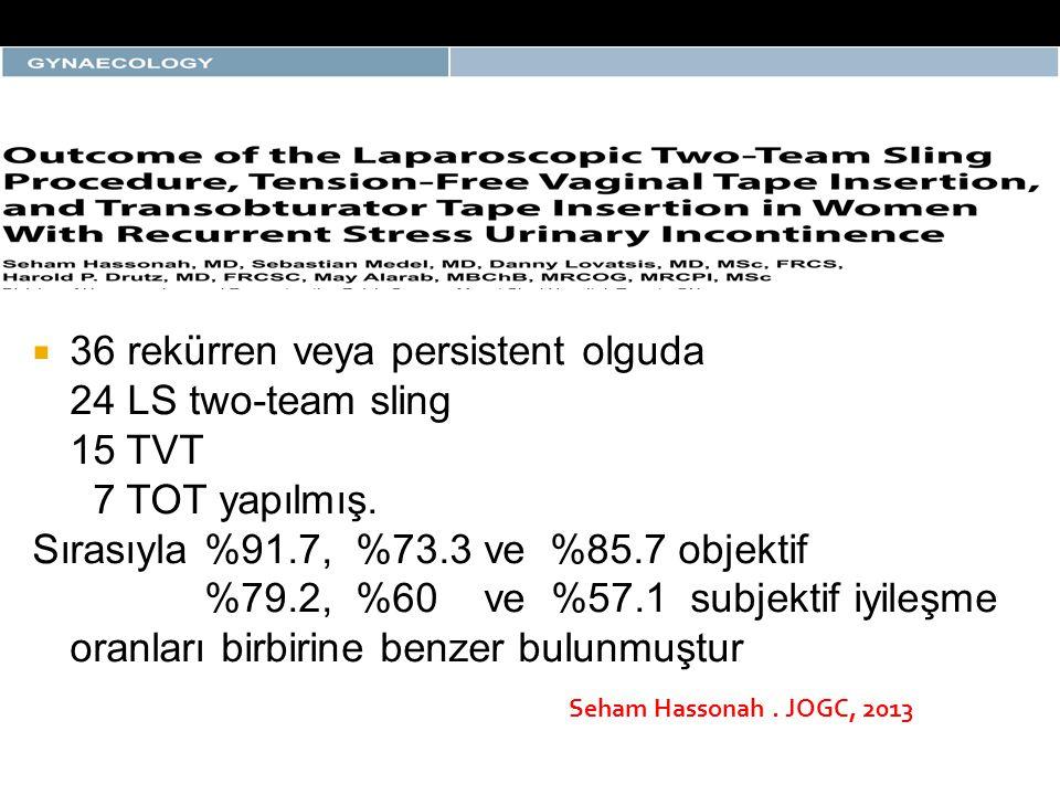  36 rekürren veya persistent olguda 24 LS two-team sling 15 TVT 7 TOT yapılmış. Sırasıyla %91.7, %73.3 ve %85.7 objektif %79.2, %60 ve %57.1 subjekti
