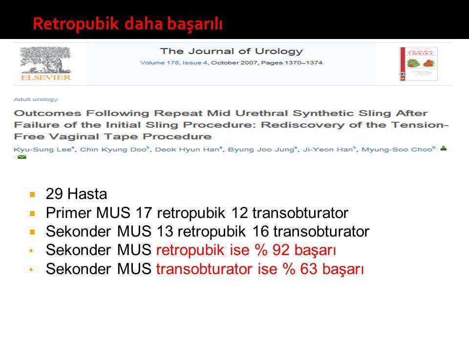  29 Hasta  Primer MUS 17 retropubik 12 transobturator  Sekonder MUS 13 retropubik 16 transobturator Sekonder MUS retropubik ise % 92 başarı Sekonde