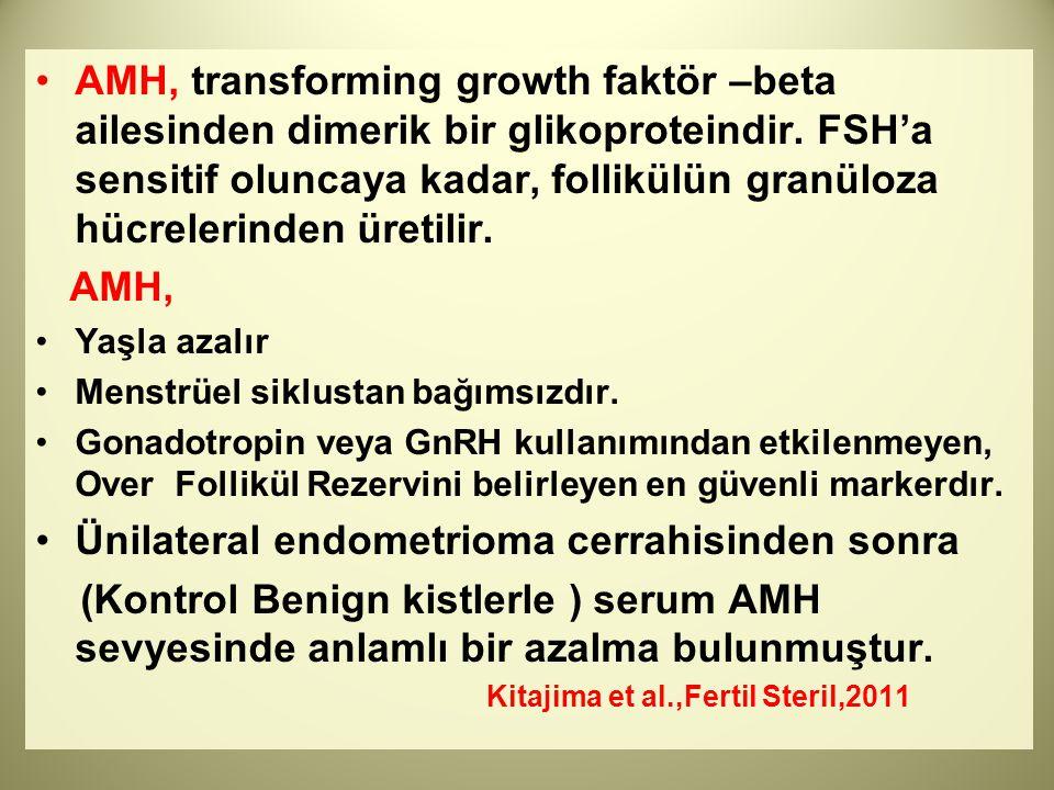 AMH, transforming growth faktör –beta ailesinden dimerik bir glikoproteindir. FSH'a sensitif oluncaya kadar, follikülün granüloza hücrelerinden üretil