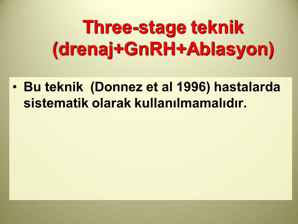 Three-stage teknik (drenaj+GnRH+Ablasyon) Bu teknik (Donnez et al 1996) hastalarda sistematik olarak kullanılmamalıdır.