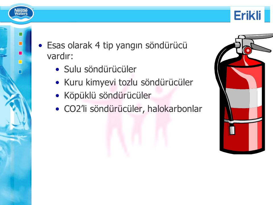 Esas olarak 4 tip yangın söndürücü vardır: Sulu söndürücüler Kuru kimyevi tozlu söndürücüler Köpüklü söndürücüler CO2'li söndürücüler, halokarbonlar