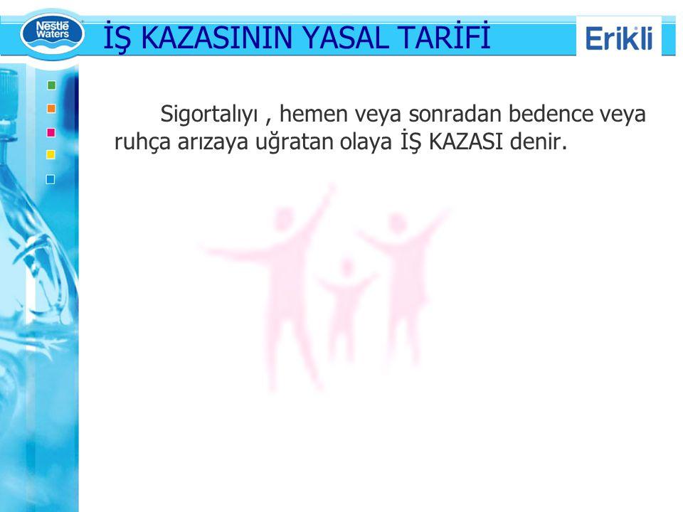 İŞ KAZASININ YASAL TARİFİ Sigortalıyı, hemen veya sonradan bedence veya ruhça arızaya uğratan olaya İŞ KAZASI denir.
