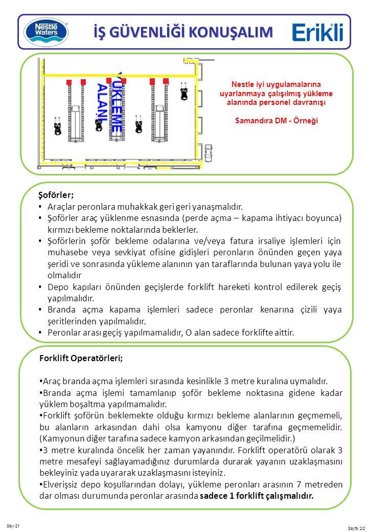 İŞ GÜVENLİĞİ KONUŞALIM Nestle iyi uygulamalarına uyarlanmaya çalışılmış yükleme alanında personel davranışı Samandıra DM - Örneği Sayı:21 Sayfa 2/2 Şo