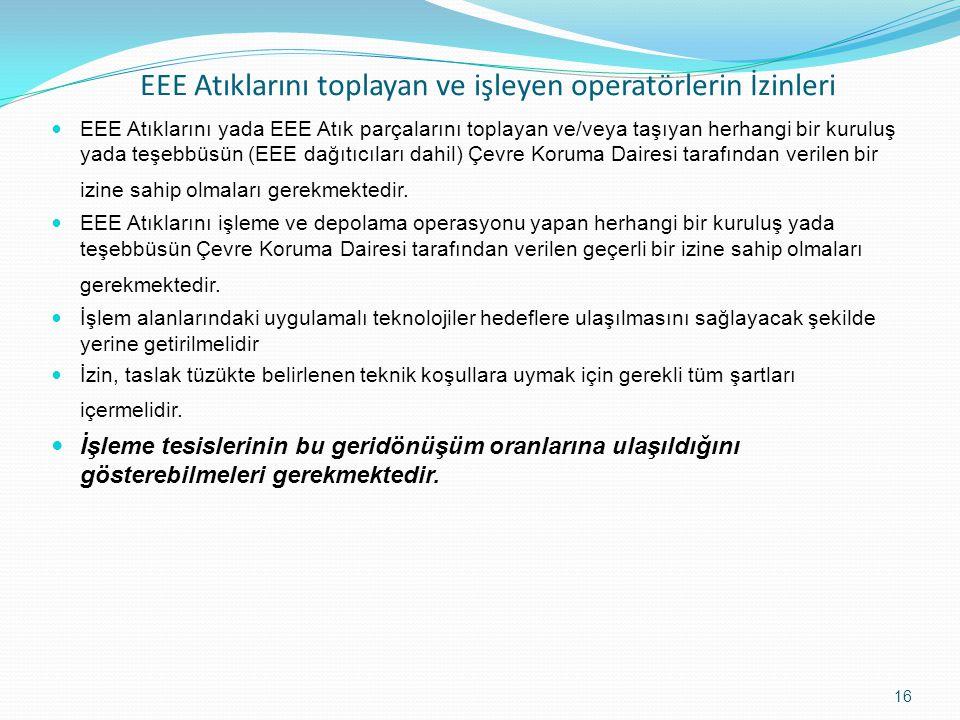 EEE Atıklarını toplayan ve işleyen operatörlerin İzinleri EEE Atıklarını yada EEE Atık parçalarını toplayan ve/veya taşıyan herhangi bir kuruluş yada teşebbüsün (EEE dağıtıcıları dahil) Çevre Koruma Dairesi tarafından verilen bir izine sahip olmaları gerekmektedir.