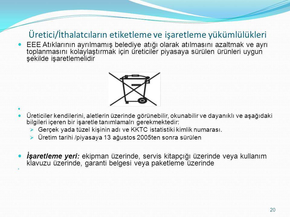 Üretici/İthalatcıların etiketleme ve işaretleme yükümlülükleri EEE Atıklarının ayrılmamış belediye atığı olarak atılmasını azaltmak ve ayrı toplanması