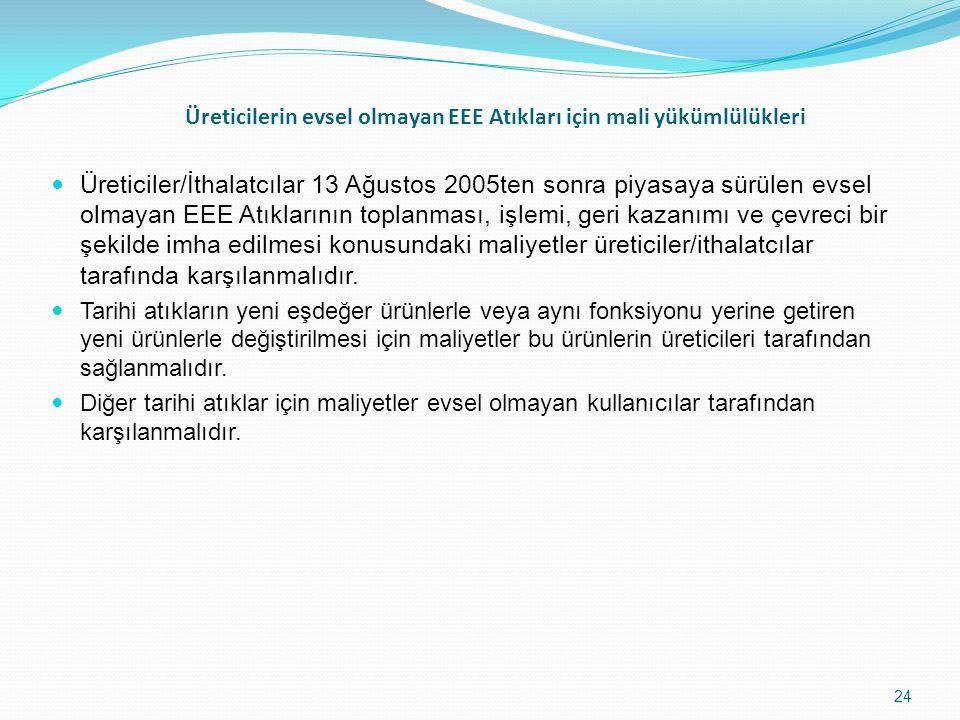 Üreticilerin evsel olmayan EEE Atıkları için mali yükümlülükleri Üreticiler/İthalatcılar 13 Ağustos 2005ten sonra piyasaya sürülen evsel olmayan EEE Atıklarının toplanması, işlemi, geri kazanımı ve çevreci bir şekilde imha edilmesi konusundaki maliyetler üreticiler/ithalatcılar tarafında karşılanmalıdır.