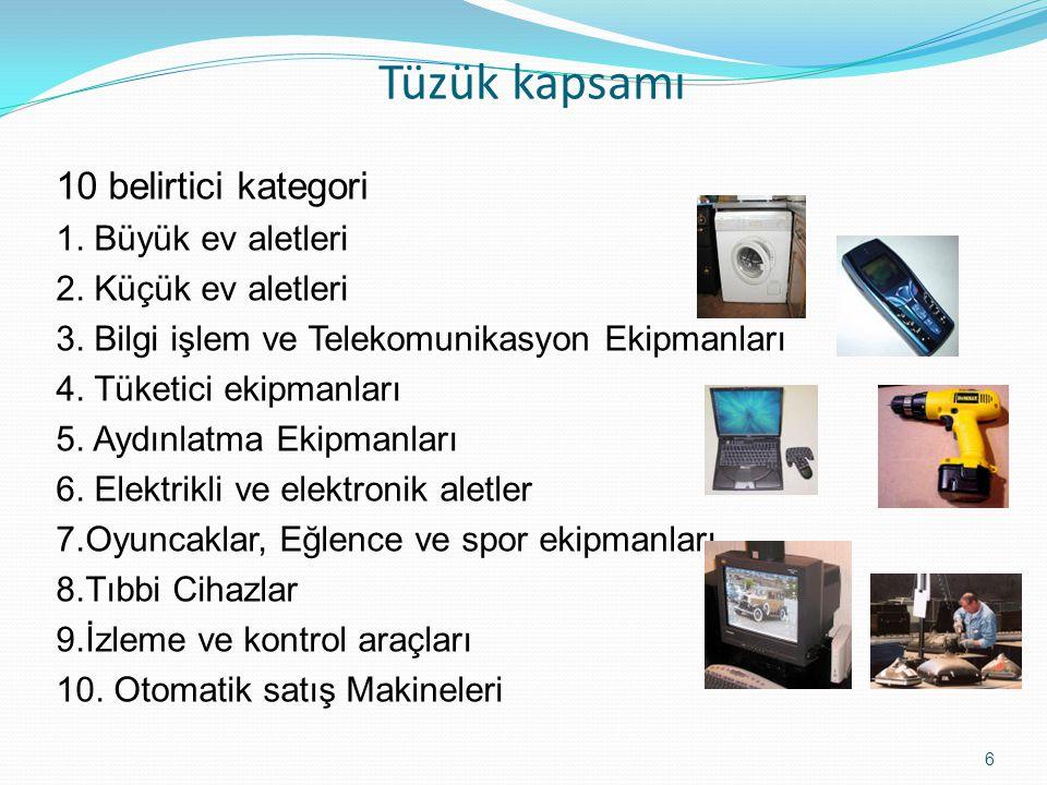 7 Kategoriler Ekipman türü 1 Isı değişim ekipmanı 2 Ekranlar, monitörler, ve 100cm2 fazla yüzeyi olan ekrana ahip ekipmalar 3 Aydınlatmalar 4 Büyük ekipmanlar (dış boyutu 50cmden fazla olan) 5 Küçük ekipmanlar (dış boyutu 50cmden fazla olmayanlar) 6 Küçük Bilgiİşlem ve telekomunikayon ekipmanları (dış boyutu 50cmden fazla olmayanlar)