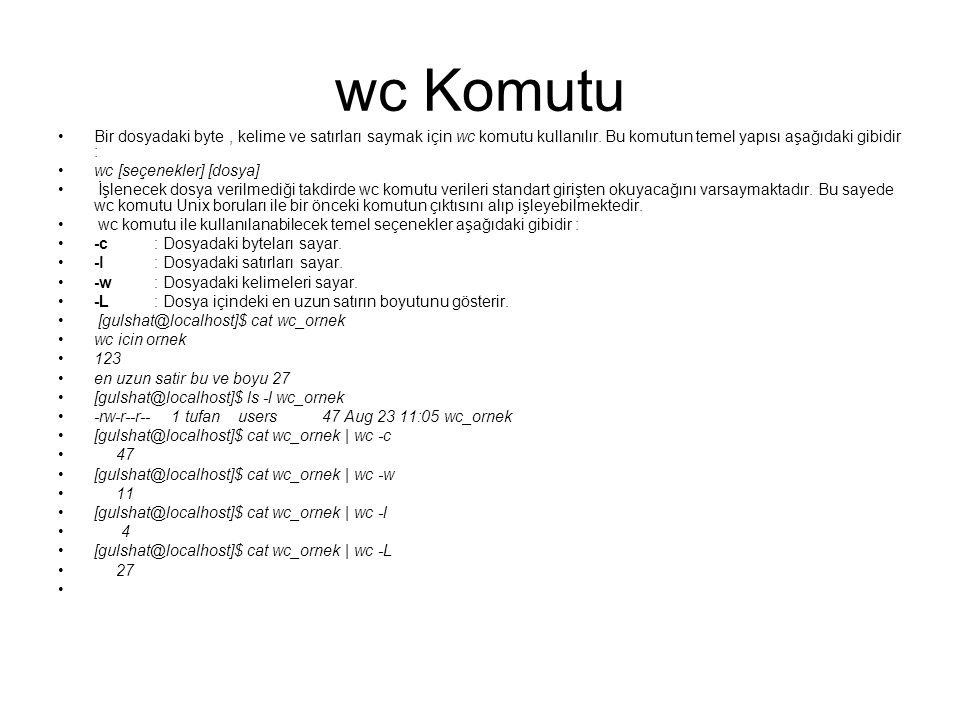 wc Komutu Bir dosyadaki byte, kelime ve satırları saymak için wc komutu kullanılır. Bu komutun temel yapısı aşağıdaki gibidir : wc [seçenekler] [dosya
