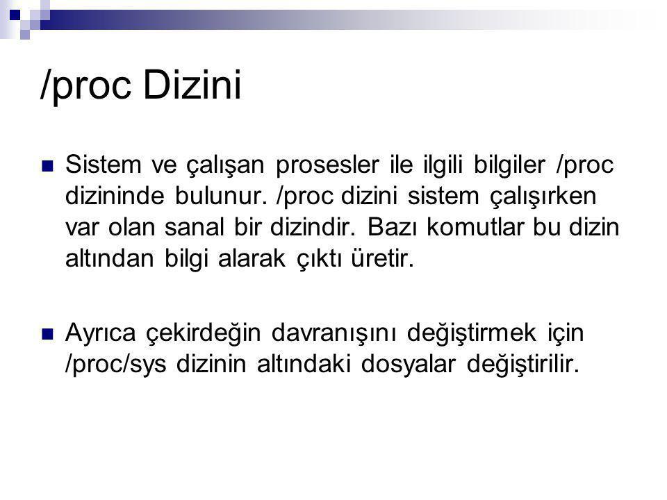 /proc Dizini Sistem ve çalışan prosesler ile ilgili bilgiler /proc dizininde bulunur.