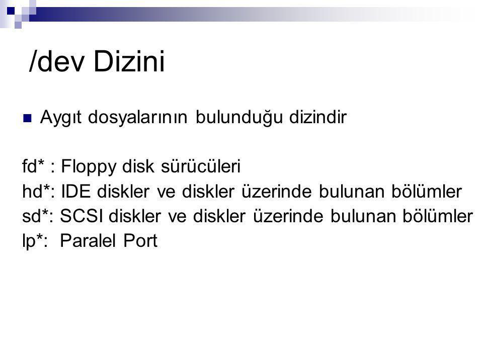 /dev Dizini Aygıt dosyalarının bulunduğu dizindir fd* : Floppy disk sürücüleri hd*: IDE diskler ve diskler üzerinde bulunan bölümler sd*: SCSI diskler ve diskler üzerinde bulunan bölümler lp*: Paralel Port