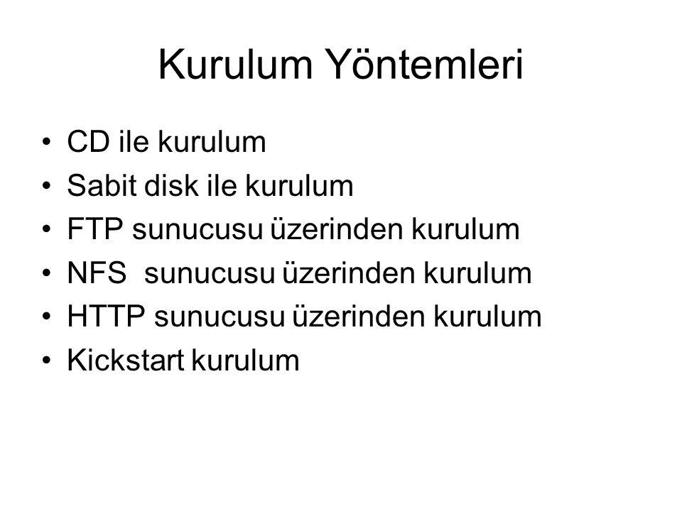 Kurulum Yöntemleri CD ile kurulum Sabit disk ile kurulum FTP sunucusu üzerinden kurulum NFS sunucusu üzerinden kurulum HTTP sunucusu üzerinden kurulum