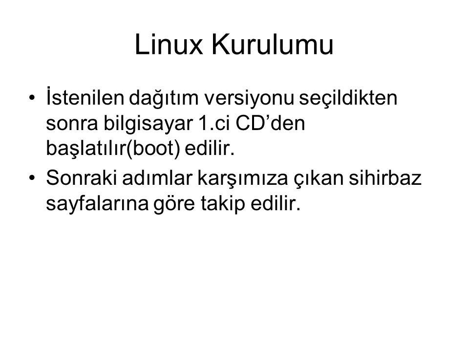 Linux Kurulumu İstenilen dağıtım versiyonu seçildikten sonra bilgisayar 1.ci CD'den başlatılır(boot) edilir. Sonraki adımlar karşımıza çıkan sihirbaz
