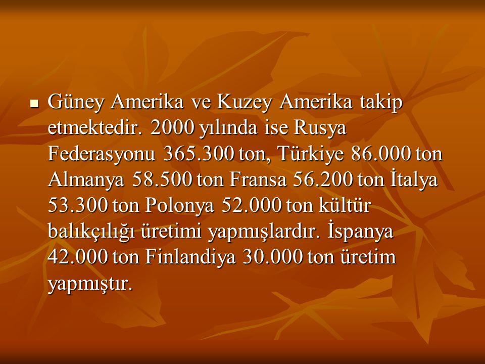 Güney Amerika ve Kuzey Amerika takip etmektedir. 2000 yılında ise Rusya Federasyonu 365.300 ton, Türkiye 86.000 ton Almanya 58.500 ton Fransa 56.200 t