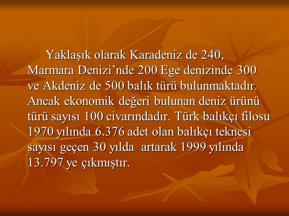 Yaklaşık olarak Karadeniz de 240, Marmara Denizi'nde 200 Ege denizinde 300 ve Akdeniz de 500 balık türü bulunmaktadır. Ancak ekonomik değeri bulunan d