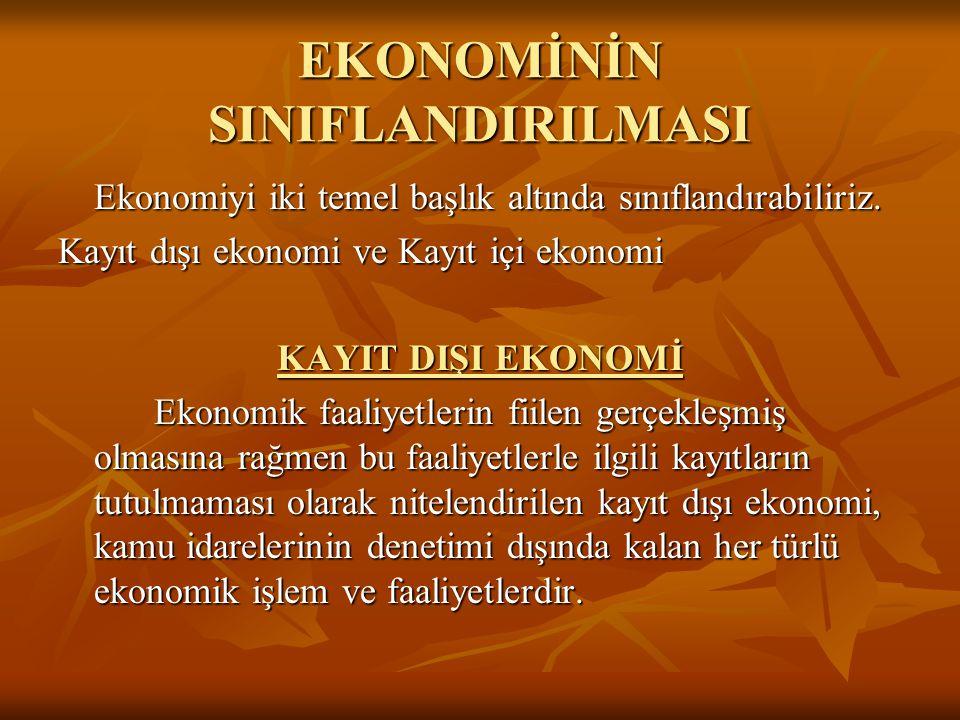 EKONOMİNİN SINIFLANDIRILMASI Ekonomiyi iki temel başlık altında sınıflandırabiliriz. Kayıt dışı ekonomi ve Kayıt içi ekonomi KAYIT DIŞI EKONOMİ Ekonom