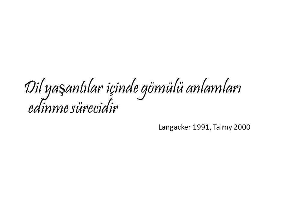 Dil ya ş antılar içinde gömülü anlamları edinme sürecidir Langacker 1991, Talmy 2000