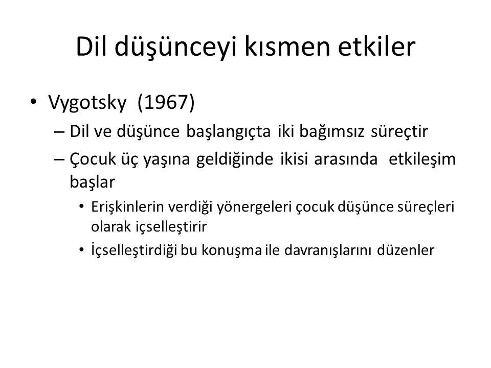 Dil düşünceyi kısmen etkiler Vygotsky (1967) – Dil ve düşünce başlangıçta iki bağımsız süreçtir – Çocuk üç yaşına geldiğinde ikisi arasında etkileşim
