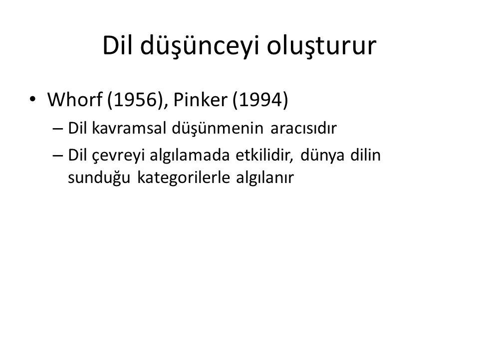 Dil düşünceyi oluşturur Whorf (1956), Pinker (1994) – Dil kavramsal düşünmenin aracısıdır – Dil çevreyi algılamada etkilidir, dünya dilin sunduğu kate