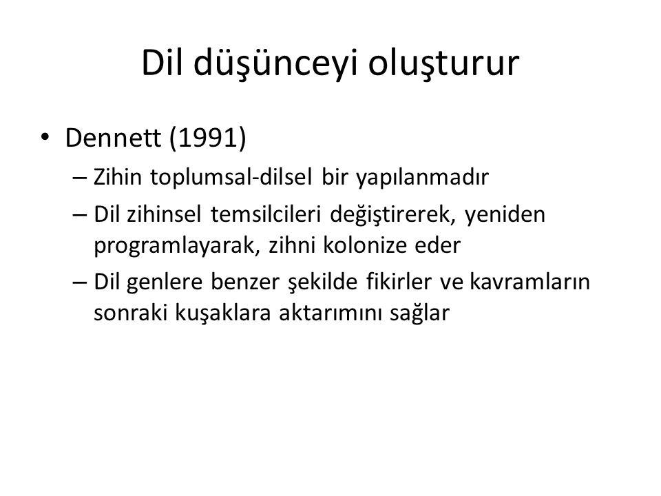 Dil düşünceyi oluşturur Dennett (1991) – Zihin toplumsal-dilsel bir yapılanmadır – Dil zihinsel temsilcileri değiştirerek, yeniden programlayarak, zih