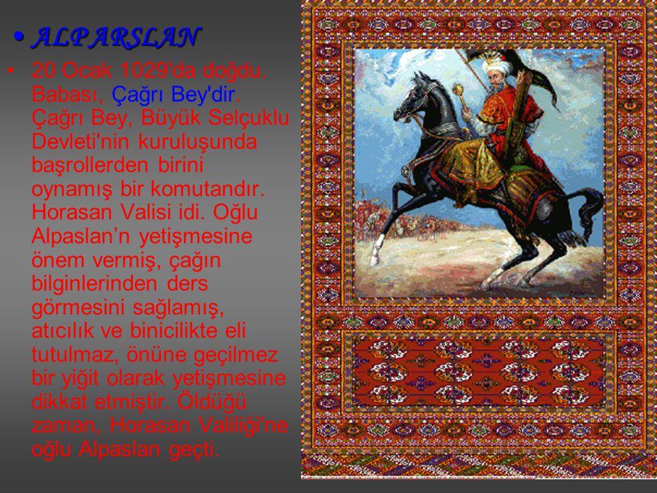 ALP ARSLANALP ARSLAN 20 Ocak 1029'da doğdu. Babası, Çağrı Bey'dir. Çağrı Bey, Büyük Selçuklu Devleti'nin kuruluşunda başrollerden birini oynamış bir k